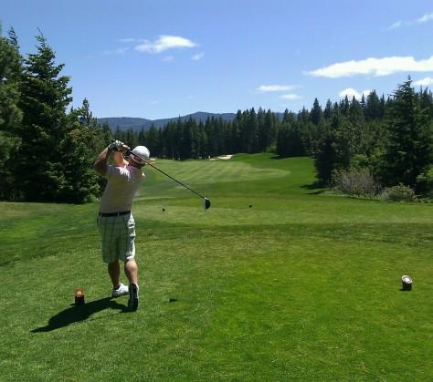 determined golfer